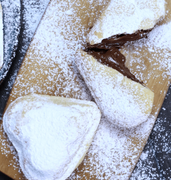 Vanilla hart cookies powdered with powdered sugar