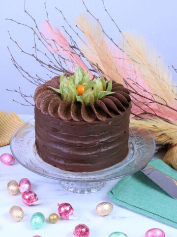 Easter chocolate cake garnished with Physalis fruit