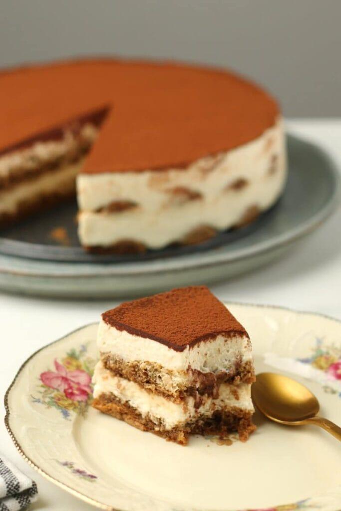 Tiramisu cake slice on a plate