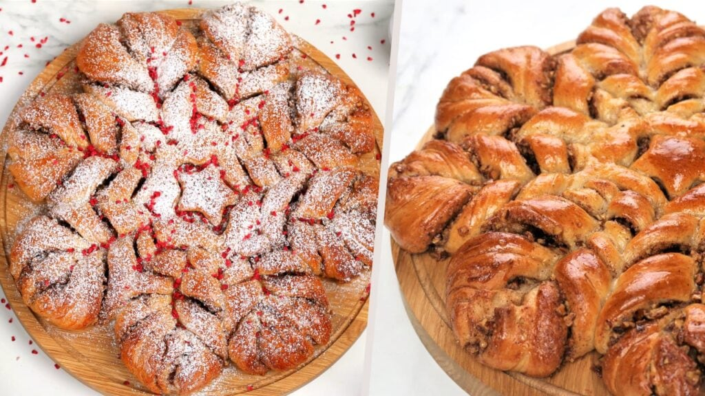 Star bread with and without icing sugar