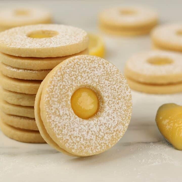 Pile of lemon curd sandwich cookies