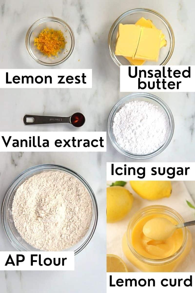 Labeled lemon curd cookies ingredients